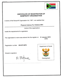 Physical Literacy for Children NPO Registration Certificate