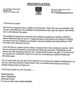 Letter from Estelle Meadows of Molenbeek School regarding the impact of PLC