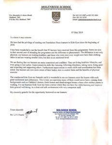 Letter from the Principal of Molenbeek School 7 May 2019